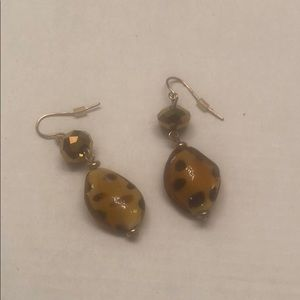 Glass Leopard Crystal Ball Earrings